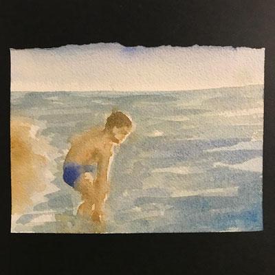 Stefania Fabrizi - disegno in cabina - acquarello - 24/2/2018