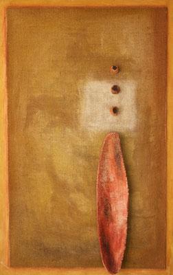 Senza titolo. Verso l'alto, 2001 terracotta e pigmenti su juta su tavola cm 110x70