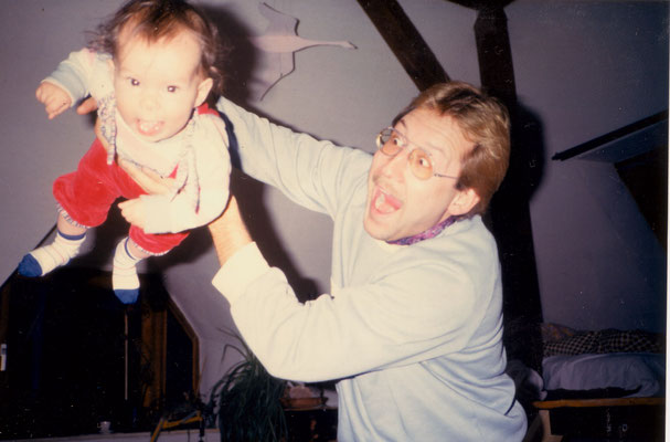Playing with Florian, an offspring of the Berlin community, 1986.