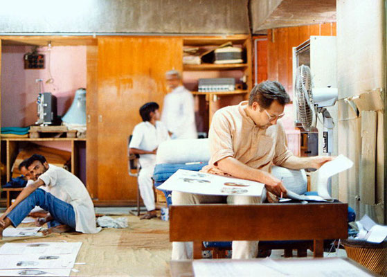 "Peter Rühe at work at Sabarmati Ashram, Ahmedabad, for the exhibition ""Our Days With Bapu"", 1991"