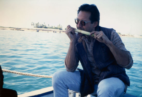 Enjoying  corn on a boat trip in Gujarat, 1991.