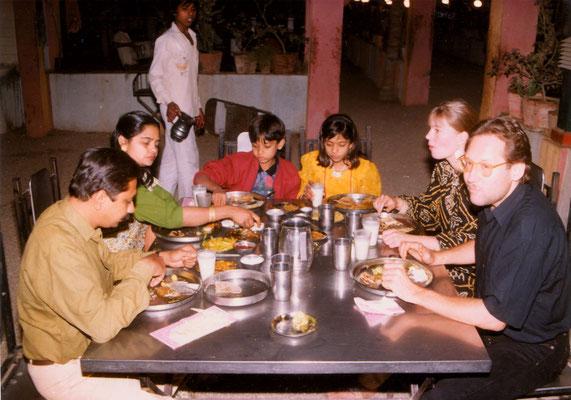 Having dinner with fiancee Susanne, Yogeshbhai Goda and his family, Rajkot, 1993.