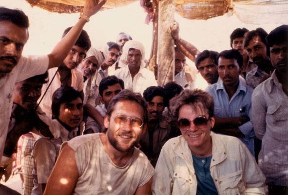 With friend Jutta during the bicycle tour through Saurashtra, 1986.