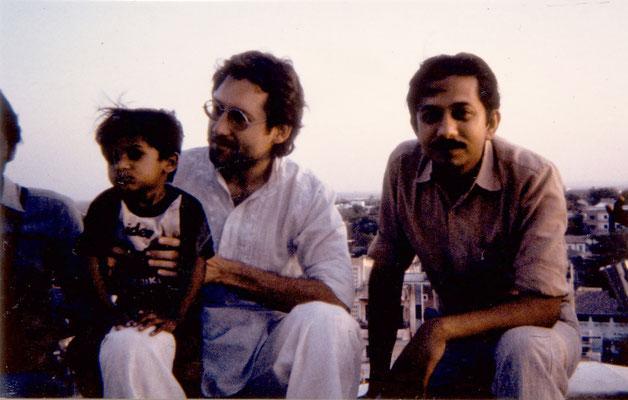 With friend Yogesh and his son Nandan, Rajkot, 1986.