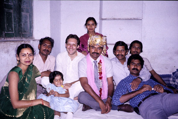 With relatives of friend Ravinder, 1986.