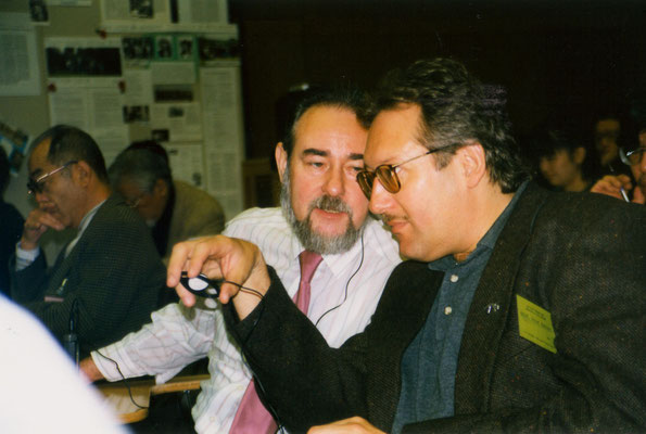 With Tommy Spree, founder of the Anti-War Museum, Berlin, during the International Peace Museum Network conference in Japan, 1998.
