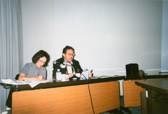 During Peter Rühe's lecture at the International Peace Museum Network conference in Japan, 1998.