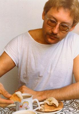 Breakfast in Tel Aviv, Israel, 1989.