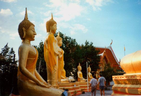 With Dr. Karl-Heinz Leidreiter in a Buddhist temple, Thailand, 1993.