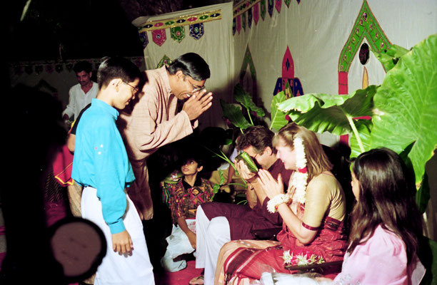 The newly wed couple receiving blessings and presents during a reception at Rashtriyashala Ashram, Rajkot, Gujarat, 1994.