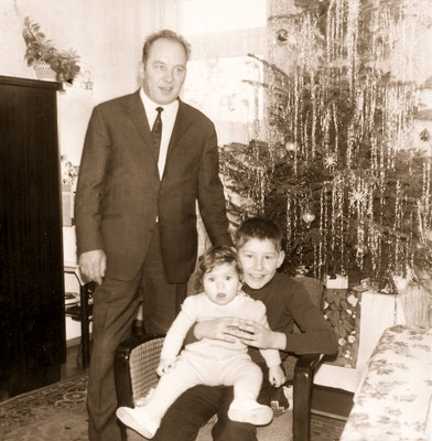 With father and sister Corinna during Christmas, 1966.