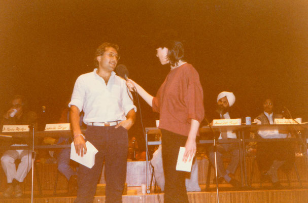 During a public radio broadcast programme on India with presenter Gabriele Mönnig at Sender Freies Berlin, Berlin, 1984.