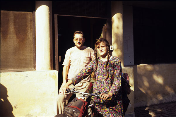 With an 18 years old German graduate who cycled alone from Germany to India, New Delhi, 1986.