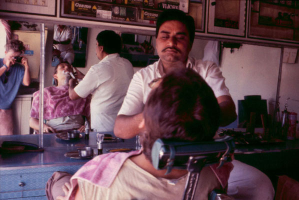 In a barber salon in Rajkot, 1986.