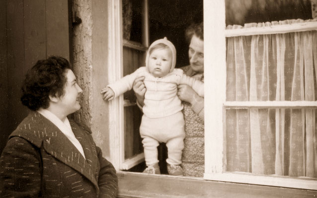 """With mother and """"aunt Gothner"""", 1958."""