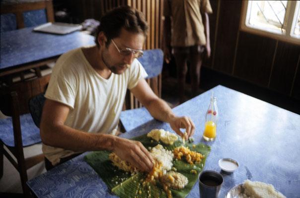Enjoying a South Indian meal, 1985.