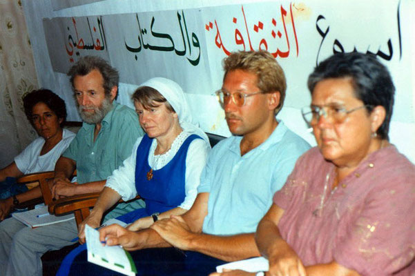 Lilly Moed (IFOR), Peter Rühe, Yvette Naal (Arche Community) and others during the first meeting of IFOR-Israel on the West Bank at Ramallah, 1987