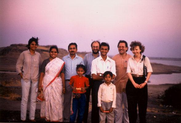 With (from left) Sonal Shah, Saroj and Yogesh Goda (Prabhudasbhai's grandson), their children and friends, Rajkot, 1991.