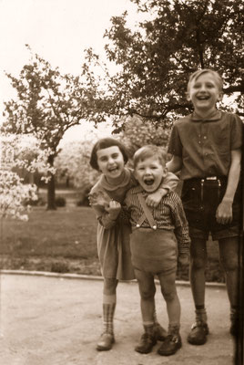 """With great cousin, Erika, and """"aunt Gothner's"""" son, Klaus, 1960."""