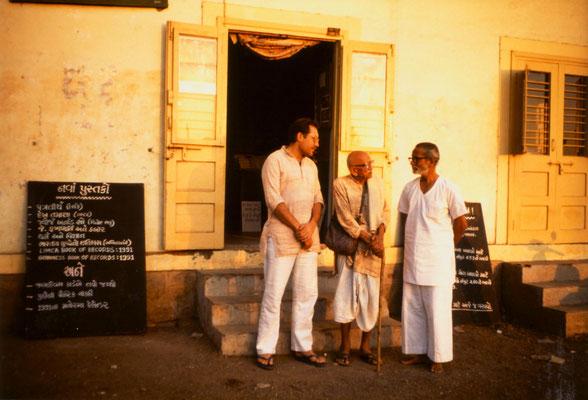 With Prabhudasbhai Gandhi and Mahendra Meghani in front of Lok Milap Book Trust, Bhavnagar, 1991.