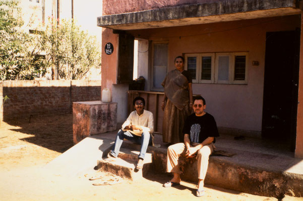 With a friend and his mother in Ahmedabad, 1990.