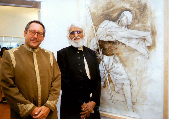 M.F. Hussain and Peter Rühe in front of Hussain's Gandhi painting, Berlin, 2000