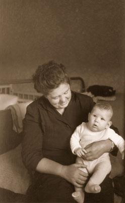 With maternal grandmother, 1957.