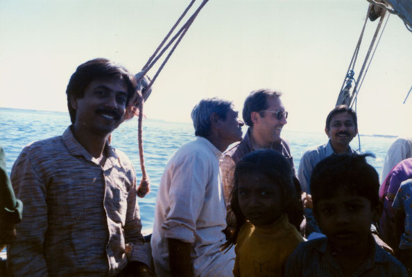 With Yogeshbhai Goda (right), his younger brother Sudhanshu and father Himatlal, and kids during a boat trip in Gujarat, 1991.