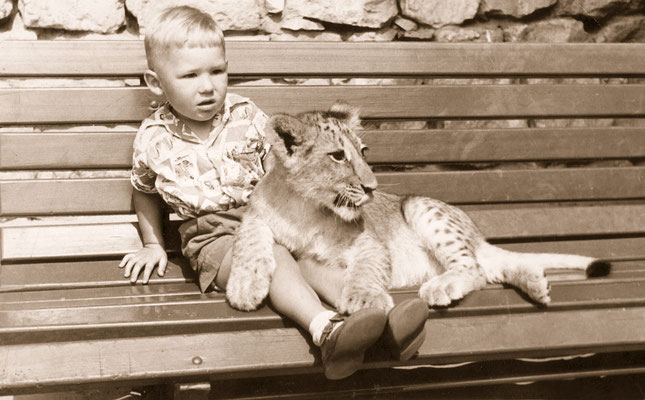During a visit at Tierpark Berlin, 1962.