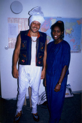 With friend Jackie from Jamaica during a carnival party, Berlin, 1989.