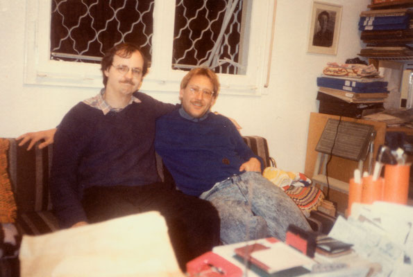 With Christian Bartolf, co-founder of Gandhi Information Centre, Haifa (Israel), 1989.