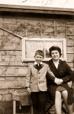 With mother, 1964.