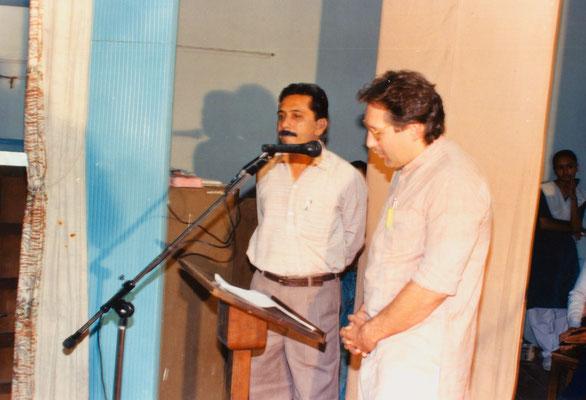 "Giving a speech in Gujarati after the 2nd drawing competition ""Mahatma Gandhi - As I see him"" at Rashtriyashala, Rajkot, 1993. Left: Yogeshbhai Goda."
