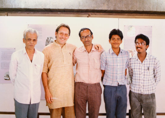 With friend Laxmikant, his son and other friends at Gandhi Ashram, Ahmedabad, 1991.