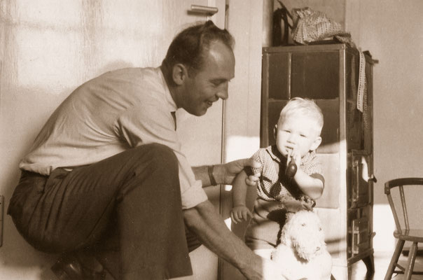 With father, 1959.