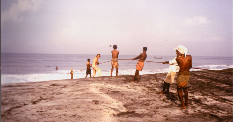 Assisting fishermen in South India, 1983.