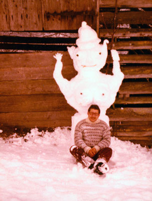 In front of a snow woman in Austria, 1979.