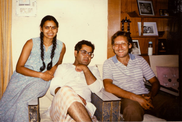 With Ravinder's sister, Sunita and her husband, at their home in Chennai, 1985.