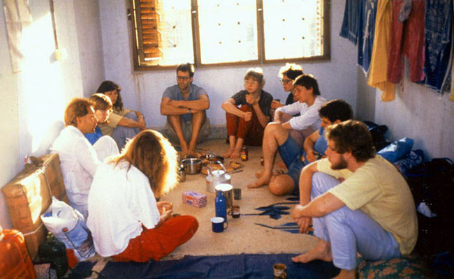 "Peter Rühe (left) leads a group tour ""In the Footsteps of Mahatma Gandhi"" through Gujarat, Mumbai, 1987"