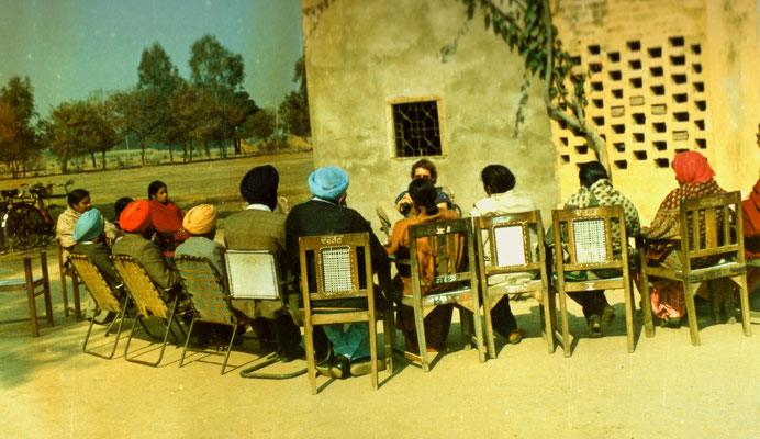 During a visit of a school in Punjab, India, 1983.
