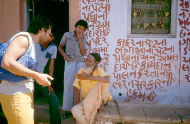 Talking with a Mahatma (Great Soul) near Rajkot, 1986.