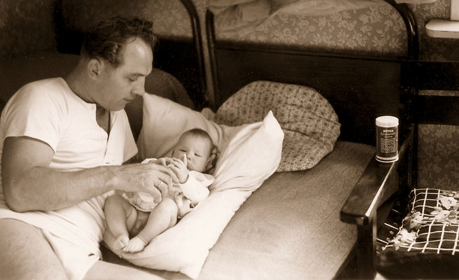 With father, 1957.