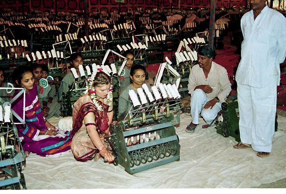 The Gandhian part of the wedding ceremony: spinning a quantum of yarn, Savarkundla, 1994.