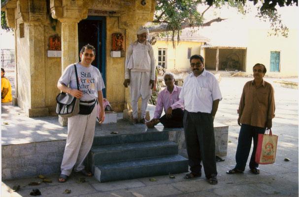Visiting a small temple in Porbandar, Gujarat, 1993.