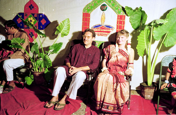 The newly wed couple during a reception at Rashtriyashala Ashram, Rajkot, Gujarat, 1994.
