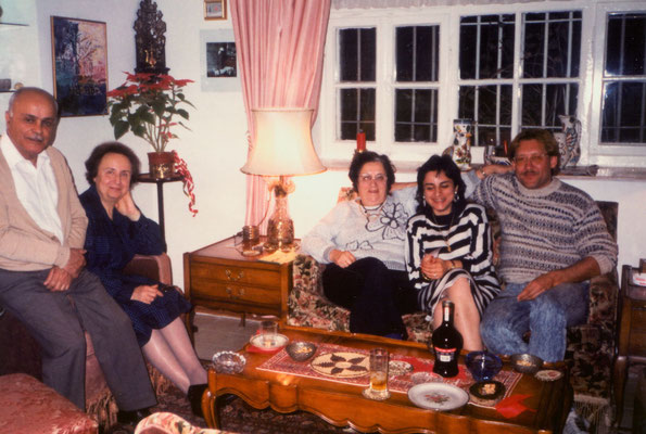 The parents of Lina, Amin and Betty Majaj, Dr. Isa Sarid, Lina and Peter (from left), East-Jerusalem, 1989.