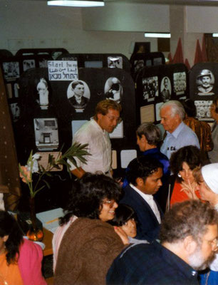 Peter Rühe during the inauguration of his Gandhi exhibition at the Ecumenical Centre at Tantur (between Jerusalem and Bethlehem), 1987