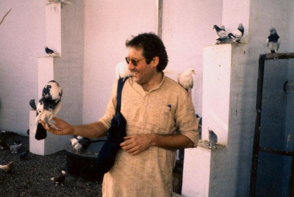 Visiting an aviary in Rajkot, Gujarat, 1990.