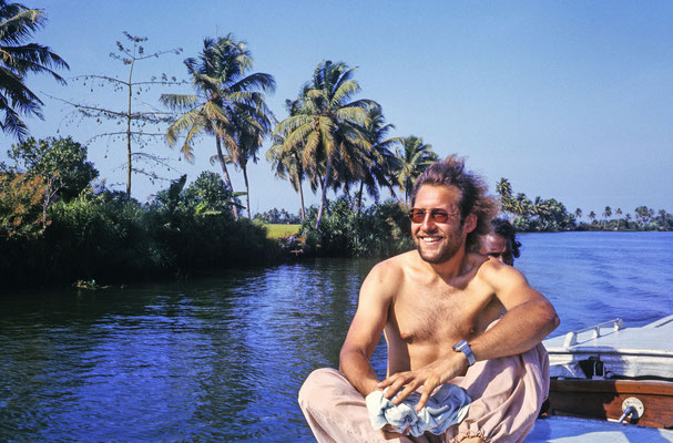 During a boat trip on the backwaters from Alleppey to Quilon, Kerala, 1983.