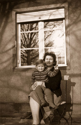 With mother, 1960.
